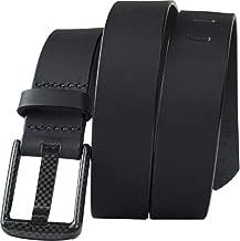 Carbon Fiber Wide Pin Black Belt Full Grain Leather Beep Free Belt Non-Metal USA Made TSA Friendly Nickel Free Buckle
