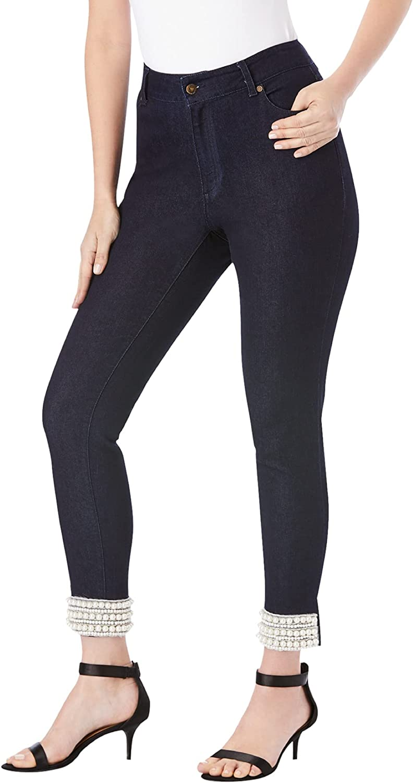 Roamans Women's Plus Size Pearl Cuff Skinny Jean