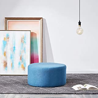 """BELLEZE 24"""" Modern Round Pouf Fabric Footstool Seat Home Living Room Ottoman, Blue"""