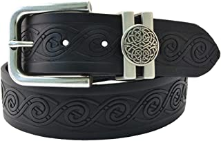 40Mm Genuine Black Leather Belt With Celtic Loop Buckle