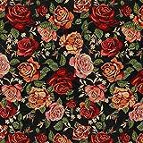 Gobelin Rosen schwarz — Meterware ab 0,5m — zum Nähen von Kissen/Tagesdecken, Tischdekoration & Gardinen