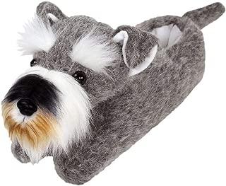 Schnauzer Slippers - Plush Dog Animal Slippers Grey, 43720
