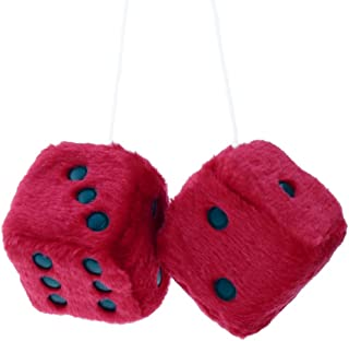 WINOMO 2.8 Inch Red Fuzzy Dice Auto Car Rearview Mirror Hanging Accessories for Car Decoration