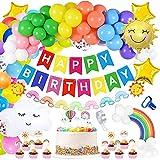 Globo arcoíris para decoración de cumpleaños para niñas y niños, con texto en alemán 'Alles Gute zum Geburtstagbanner Rainbow Ballon Pastell Partydekoration