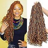 Goddess Locs Crochet Hair Braids Curly Ends 6Packs 20Inch Synthetic Soft Dreadlocks Extensions Kanekalon Braiding Hair 24 Strands/Pack (27#)