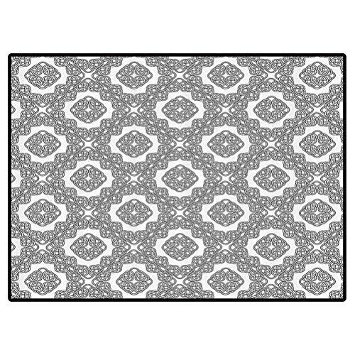 Celtic Print Kids Home Decor Rugs Vintage Geometric Diagonal Symmetrical Binding Celtic Knots Motifs Illustration Outdoor Rug for Kitchen/Dinning Room Doormat 5x8 Feet