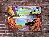 ヴィンテージスタイル・メタルサイン【Hawaii17】 アメリカンブリキ看板(ハワイ&サーフィン)
