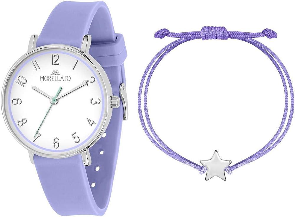 Morellato,orologio da donna,con cinturino in silicone e cassa in acciaio,+ un bracciale in nylon e acciaio R0151158510