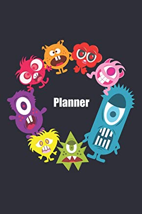 Planner: Dark Blue Monster Themed 6x9 inch UNDATED Weekly Planner Diary