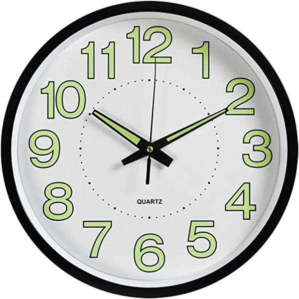 Fasmov Night Light Function Wall Clock With Silent Non Ticking Night Lights Glow In The Dark 12 Inch