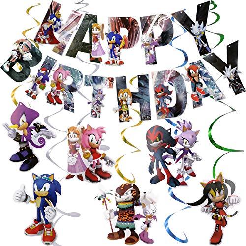 Rotorspiralen Sonic - WENTS Sonic Geburtstag Dekoration Set Kompakt Happy Birthday Deko Spirale Konfetti Partykette für Geburtstags Babyparty Hochzeits Abschluss Party 12 Stück