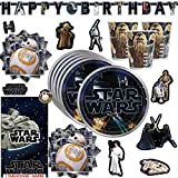 Star Wars Classic Birthday Party Supplies Pack For 16 Guests With Plates, Cups, Napkins, Table Cover, 152 Stickers, Birthday Banner and an Exclusive Porg Pin, by Another Dream