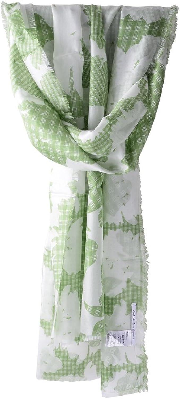 Agnona Scarf Women's Green White Floral Silk 180 cm x 65 cm