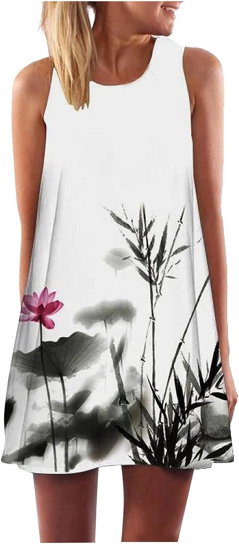 Oiumov Boho Dress for Women Casual Summer Sleeveless Oversize A-line Casual Mini Beachwear Dress Sundress Cover up Dress