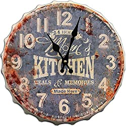 Round Decorative Metal Wall Clock Retro Antique Look Mom's Kitchen Bottle Cap 3D Quartz movement 13x13 inches