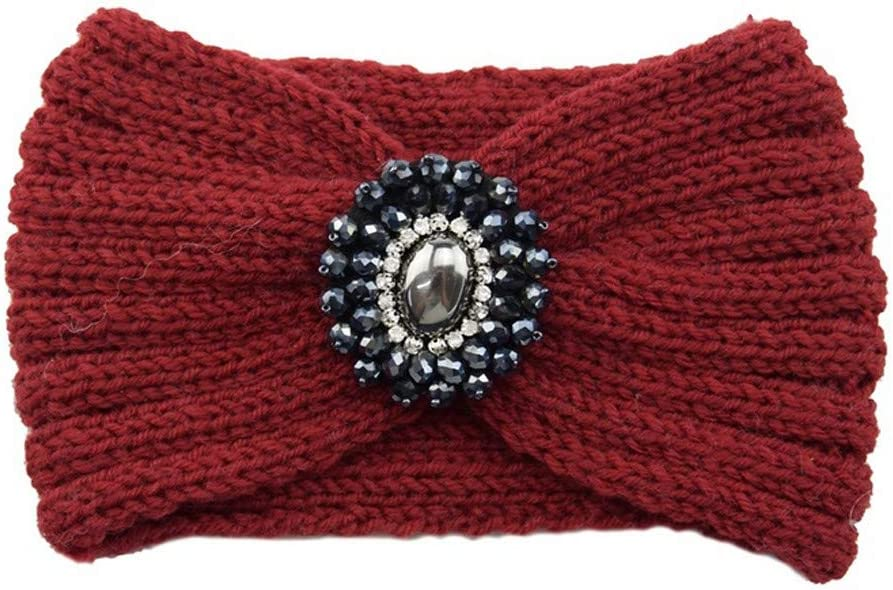 CapsA-Caps Women Cable Knit Headband Crochet Headbands Plain Braided Head Wrap Winter Ear Warmer for Women Girls Diamond Twisted Handmade Keep Warm Hairband Wide Hair Accessories Hat