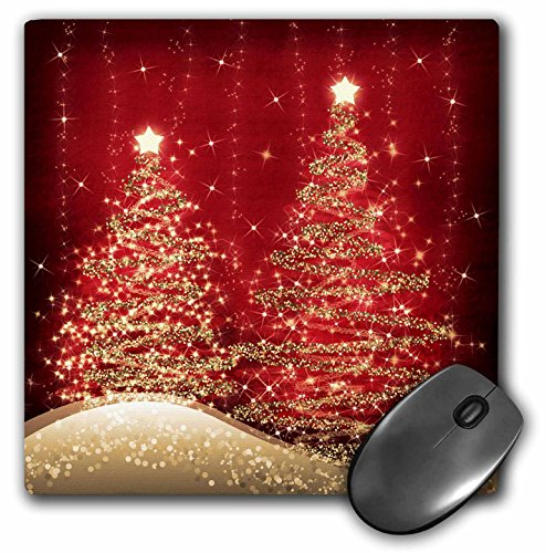 3dRose LLC 8 x 8 x 0.25 Inches Mouse Pad, Elegant Christmas Sparkling Trees Red (mp_35705_1)