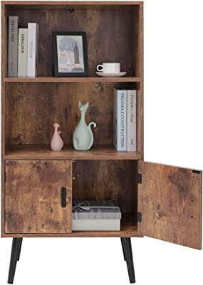 USIKEY Mid-Century Bookcase Storage Cabinet, 2-Tier Bookshelf Wine Cupboard with Door, Storage Rack Shelf for Books Photos Decorations, in Living Room Office Library, Rustic Brown