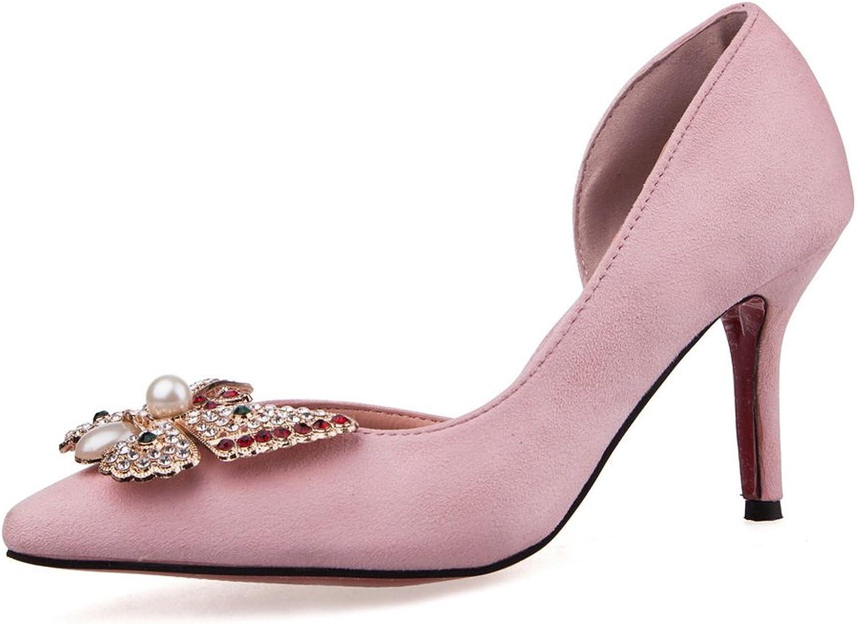 AdeeSu Womens Beaded Rhinestones Pointed-Toe Suede Pumps shoes
