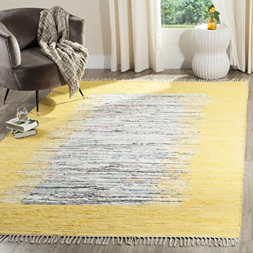 Safavieh Montauk Collection MTK711Q Handmade Flatweave Ivory and Yellow Cotton Area Rug (8' x 10')