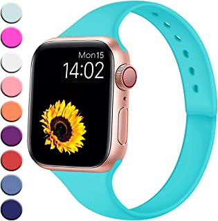 R-fun Slim Bands Compatible with Apple Watch Band 40/44mm Series 5/4 38/42mm Series 3/2/1, Soft Narrow Thin Silicone Sport Strap Wristband for Women Men Kids with iWatch