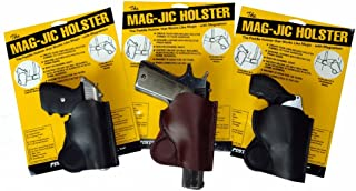 MAG-JIC USA Made Magnetic Leather Gun Holster for Most Guns
