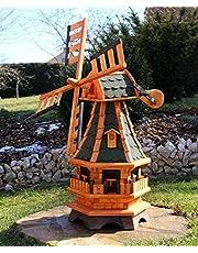 Grote houten windmolen, met windzwaard type 18.1 en verlichting op zonne-energie