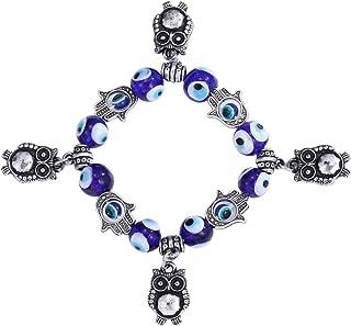 WOMEN Blue Evil Eye Bracelet for Protection Hamsa Fatima Beaded Charm Bracelets Blue Eye Stretch Bracelets for lucky bless...