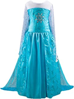 Girls Princess Elsa Costume Dress Crystal Snow Flake Size 2-10 Years