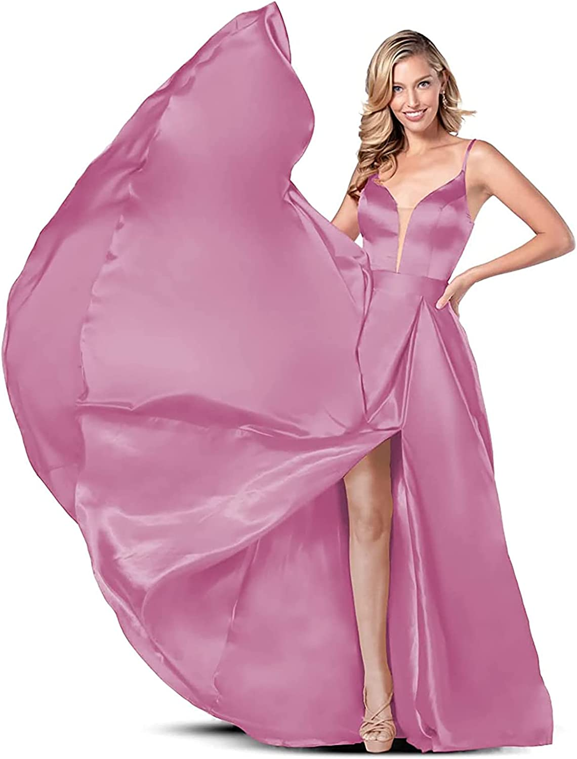 Women's Illusion Satin Prom Dresses Side Slit Formal Evening Dresses Party Gowns Long A Line with Pockets