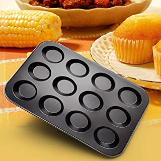 12 Cavity Cupcake Bakeware Pan Non-stick Carbon Steel Muffin Cakes Bread Jelly Baking Tray