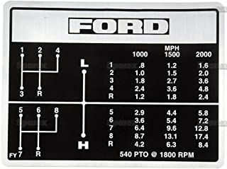 Ford 2000 3000 2600 3600 Tractor 8 Speed Trans Shift Pattern Decal C5NN7B29FY