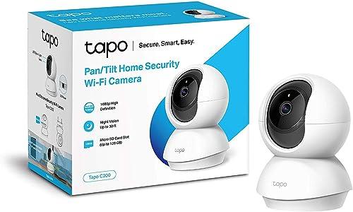 TP-Link TAPO C200 - Cámara IP WiFi 360°, Cámara de Vigilancia FHD 1080p, Visión nocturna, Admite tarjeta SD, Audio Do...