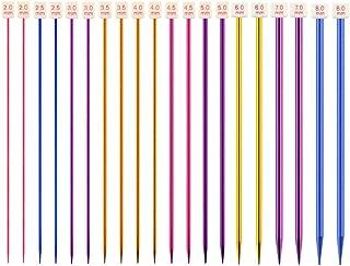 Nsiwem Aiguilles à Tricoter en Métal 10 Paires Aiguilles à Tricot Longues en Aluminium Simples Pointue Aiguilles à Tricote...