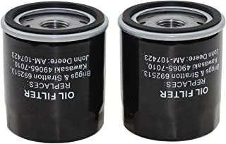 Parts Camp Oil Filter for John AM107423 Kawasaki 49065-2078 Fit Briggs & Stratton 300314 499532 692513 70185 820314 Club Car 1016467 (2 Pieces)