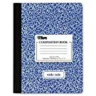 """Composition Book, Hard Cover, Comp Book, BLUE Marble Style Cover, Wide Ruled, 9-3/4"""" x 7-1/2"""" - White, 100 Sheets - 1 Book"""