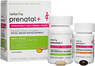 UpSpring Baby Natural Prenatal Multivitamin Plus Omega3 DHA, Choline, Natural Folate and Alpha GPC to Support Fetal Brain Development - 30 Tablets and 30 Softgel Pills