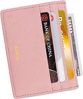 Leather Credit Card Holder Slim RFID Blocking Card Case Wallets Minimalist Front Pocket for Women Men - Pink…