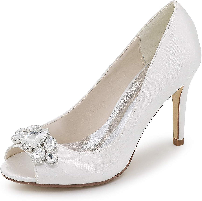 LLBubble Stiletto Heels Satin Bridal Pumps Peep Toe Evening Formal Party Dress shoes 5623-12B