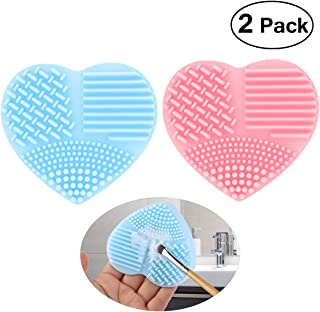 PIXNOR Makeup Brush Cleaner Silicone Cosmetic Cleaning Scrubber Tool Finger Glove Cleaning Pad, Pack of 2 (Pink and Blue)