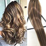 Clip in Hair Extensions Human Hair Brown Clip on for Fine Hair Full Head 7 pieces 15 inch Silky Straight Weft Remy Hair (15 inches, 4-27)