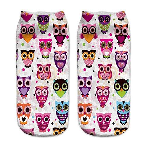 Mädchen Jungen Damen 3D Motiv Funky Print Niedrige Söckchen Socken Sneaker Funny Cute Novelty Happy Socks Sportsocken (Owl06)