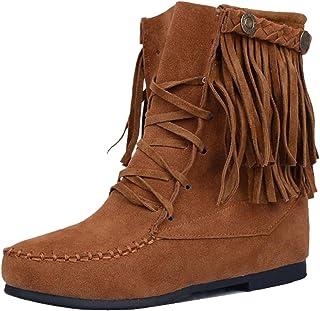 FANIMILA Women Wedge Heel Fringe Boots Lace Up
