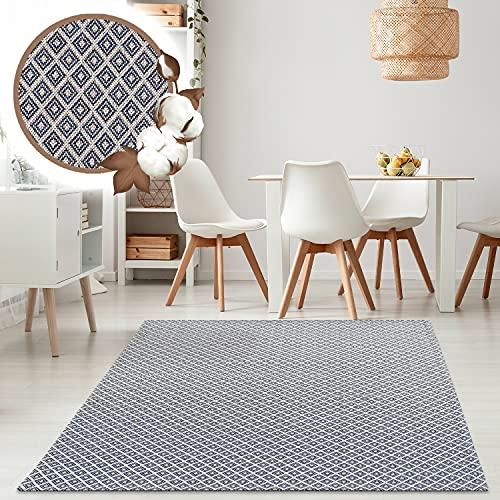 payé Alfombra de salón, alfombra de algodón – gris claro azul 130...