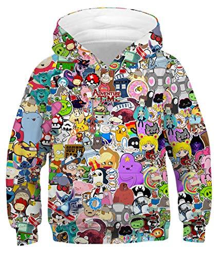 HUASON Jungen Pullover Unisex 3D Druck Hoodie Langarm Cartoon Weihnachten Sweatshirt (S)