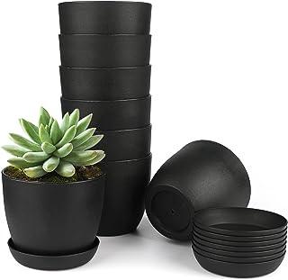 Kinglake - Vaso da fiori in plastica spessa 10 cm, rotondo, con vassoi per piante grasse e piccole piante in vaso, 8 pezz...