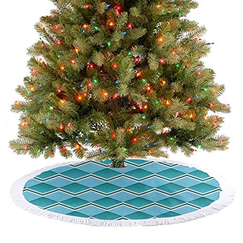 Homesonne Tree Skirts Mat Herringbone Diamond Shapes Squares Chevron Lines Geometric Texture Illustration Xmas Ornaments Goes Perfectly with Your Tree Teal and Aqua 92 cm