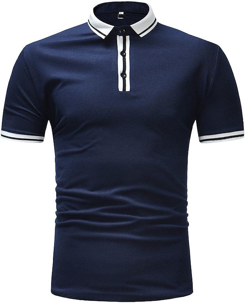 MODOQO Men's T Shirt Casual Button Collar Slim Fit Short Sleeve Tee Top