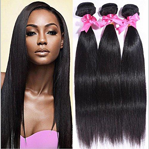 Meylee Postiches brésilien vierge Remy cheveux tissage cheveux humains non transformés Extension soyeuse droite 3 faisceaux 300g noir naturel , 18 20 22