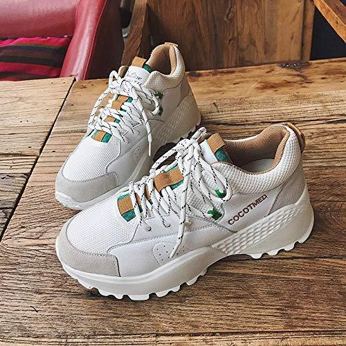 Laarzen Vrouwelijke Lente Sport Style, Dikke Bodem Schoenen, Dames Mode Dik-Oled Lace-Up Street Witte Schoenen